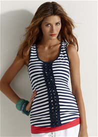 Esprit - Ruffle Stripe Tank Top - ON SALE
