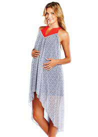 Maternal America - Asymmetric Hem Dress in Space Dots Print