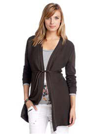 Esprit - Long Cotton Blend Cardigan in Coffee