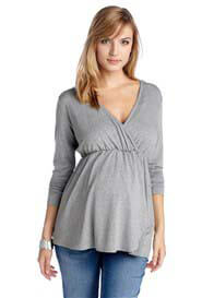 Esprit - Long Sleeve Jersey Nursing Top in Grey