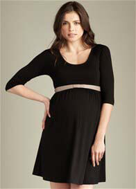 Maternal America - Black Scoop Neck Dress w Belt