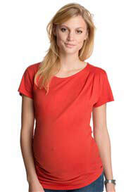 Esprit - Inlaid Pleat Tee in Pumpkin - ON SALE