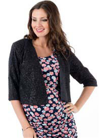 Everly Grey - Ruby Jacket in Black Shimmer