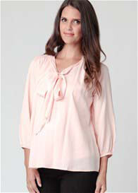 Ripe Maternity - Shell Pink Tie Blouse