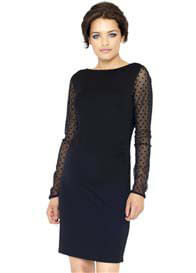 Crave - Sheer Spot Sleeve Body Con Dress - ON SALE