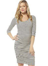 NOM - 3/4 Sleeve Nursing Dress in Black Stripe