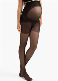 Blanqi - Ultra Sheer Belly Support Maternity Pantyhose in Black