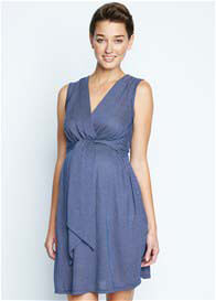 Maternal America - Mini Front Tie Dress in Navy Check