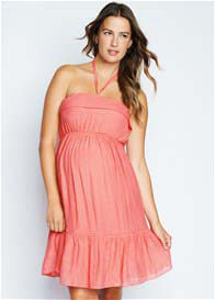 Maternal America - Halter Sun Dress in Peach