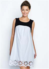 Maternal America - Baby Doll Dress in White Dot - ON SALE