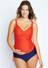 Maternal America - Bella Ruched Tankini in Red/Blue - ON SALE
