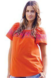 Maternal America - Embroidered Peasant Top in Orange
