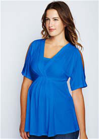 Maternal America - Split Sleeve Nursing Top in Royal Blue - ON SALE