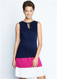 Maternal America - Colour Block Dress in Navy/Magenta/White - ON SALE