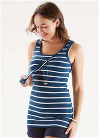 Trimester™ - Christina Blue Striped Nursing Tank Top
