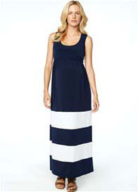Maternal America - Nursing Maxi Dress in Blue/White