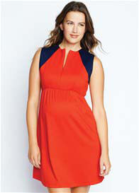 Maternal America - Front Zip Dress in Navy/Red