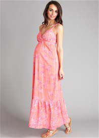 Seraphine - Coral Floral Print Maxi Dress