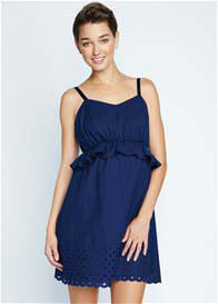 Maternal America - Peplum Dress in Navy