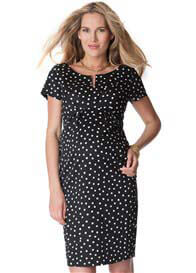Seraphine - Cotton Sateen Dress in Black Polkadot