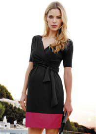 Seraphine - Border Hem Nursing Dress in Black/Pink