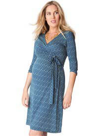 Seraphine - Mosaic Blue Print Wrap Dress