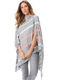 Seraphine - Breastfeeding Bamboo Shawl in Grey Stripes