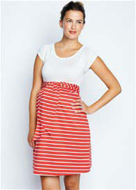 Maternal America - Scoop Neck Front Tie Dress in Ivory/Red Stripes