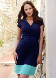 Seraphine - Border Hem Nursing Dress in Navy/Aqua