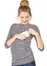 Quack Nursingwear - Reese Boat Neck Nursing Top in Black Stripes
