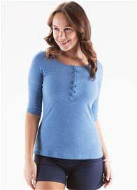 Trimester™ - Laurette Breastfeeding Henley in Blue - ON SALE