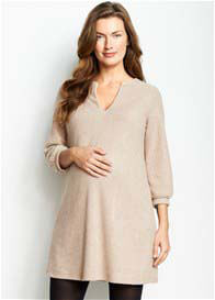 Maternal America - Textured Shift Dress in Camel