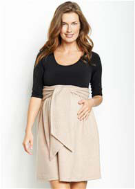 Maternal America - Front Tie Dress in Black/Camel