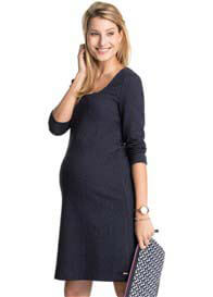 Esprit - Boucle-Textured Shift Dress in Navy