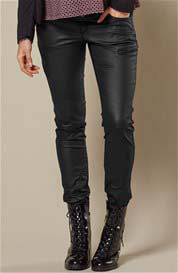Queen mum - Coated Denim Skinny Biker Pants in Black