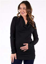 Queen mum - Draped Neck Pullover in Black