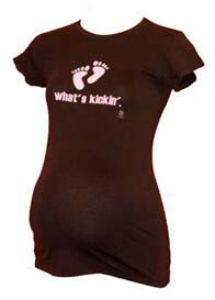 2 chix - Whats Kickin Maternity Tee w Pink Writing
