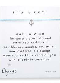 Dogeared - Its A Boy Make A Wish Silk Necklace w Anchor Charm