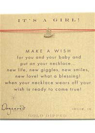 Dogeared - Its a Girl Make A Wish Silk Necklace w Robin Charm