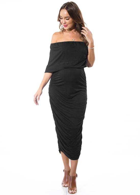 a745535100a6a The Tiffany Rose Bardot Dress in Grand Jardin is the epitome of fabulous  formal wear. A jersey maternity dress with a low v-neckline front and back,  ...
