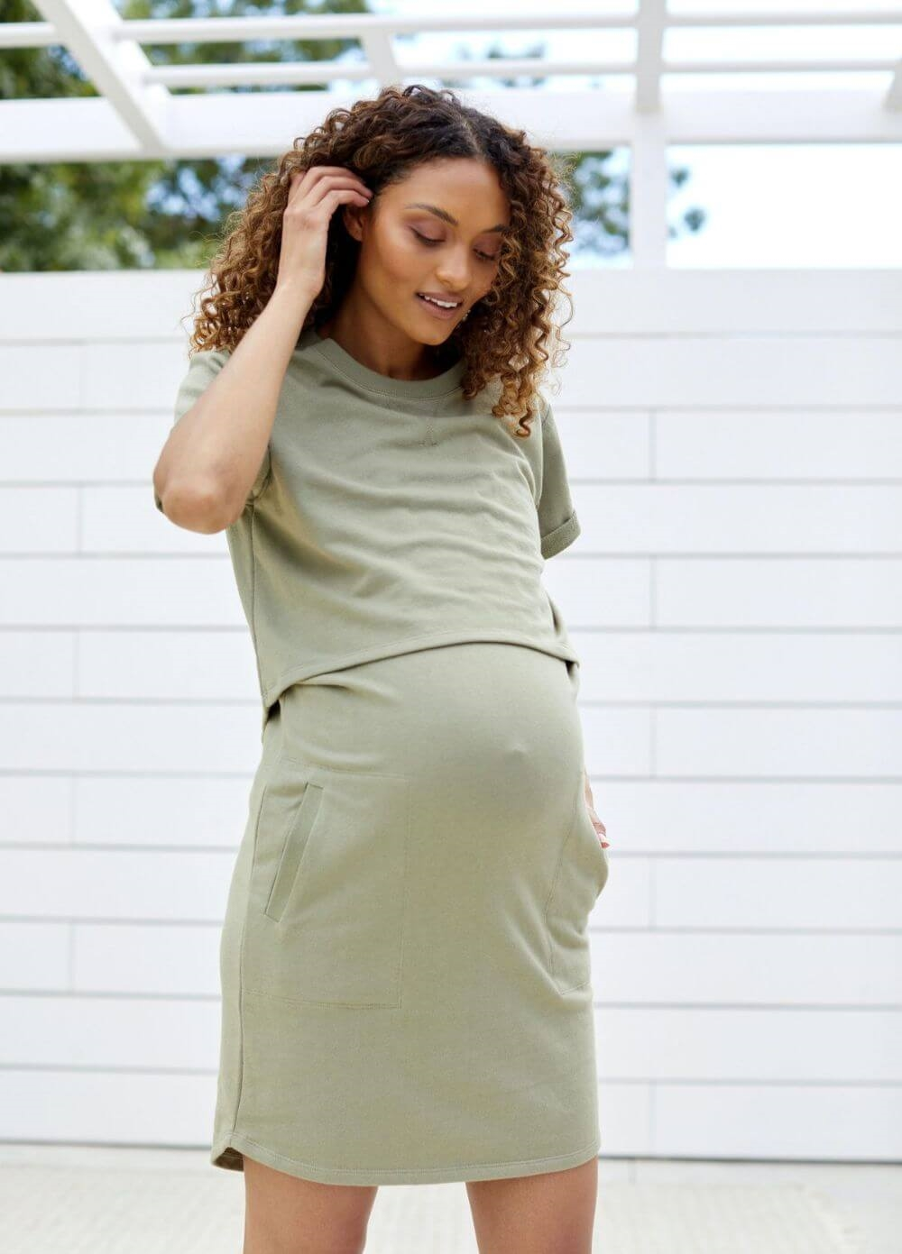Bae - Take It Easy Nursing Tee Dress in Khaki