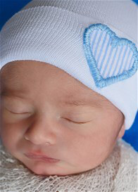 Ilybean - Newborn White Hat with Blue Heart Stripes