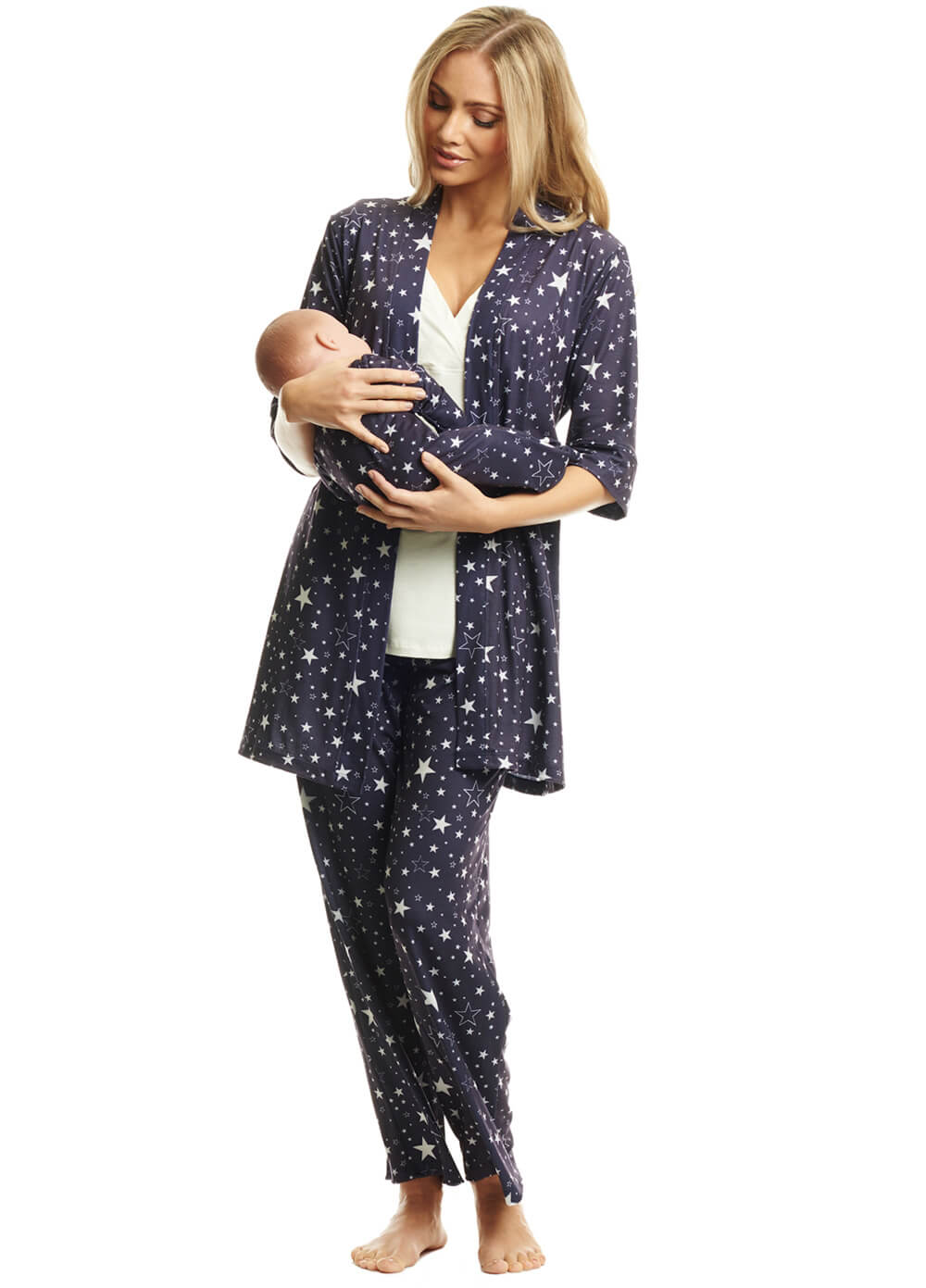 Queen Bee Analise Mommy & Me PJ Gift Set in Navy Stars by Everly Grey