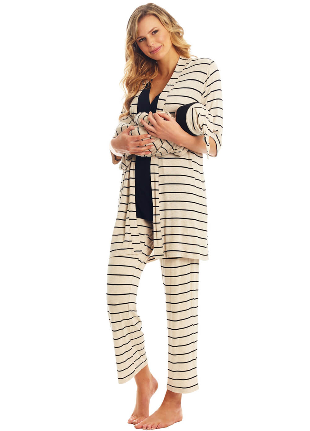 Everly Grey - Analise Mommy & Me PJ Gift Set in Sand Stripes