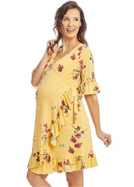 Everly Grey - Leilani Nursing Wrap Dress in Yellow Floral - ON SALE