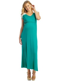 Everly Grey - Margaret Nursing Maxi Dress in Portofino Green