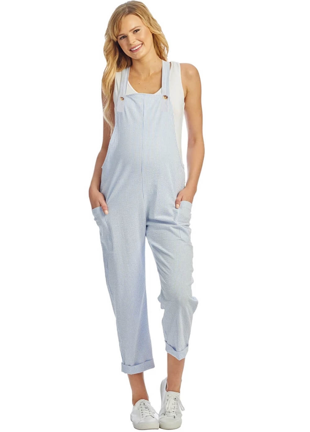 Queen Bee Everly Grey Nani Seersucker Maternity Overalls | Queen Bee