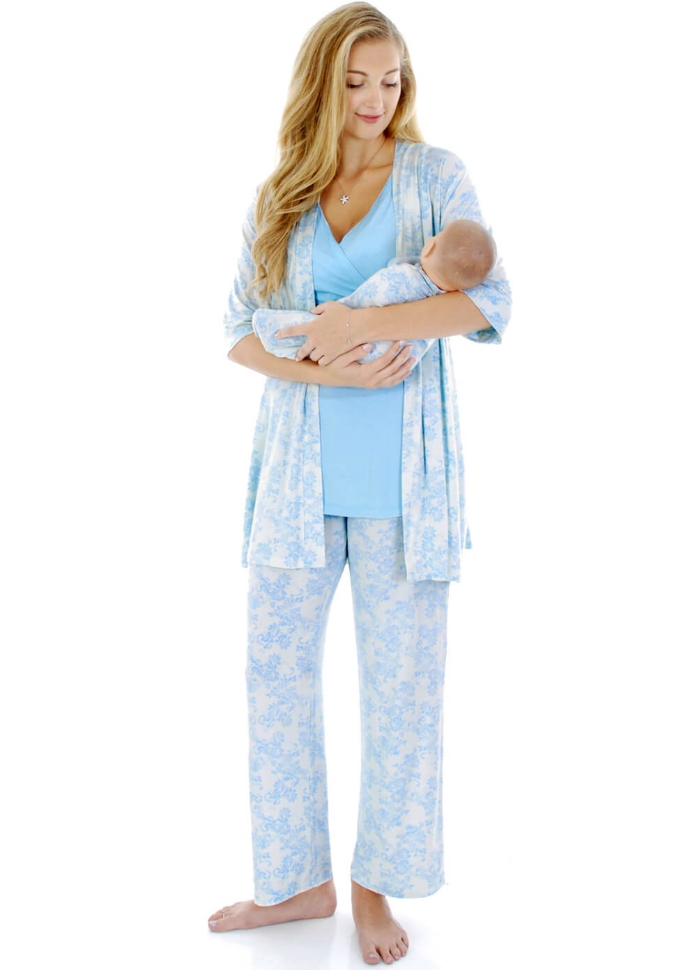 Everly Grey - Roxanne Mommy & Me PJ Gift Set in Blue Chantilly