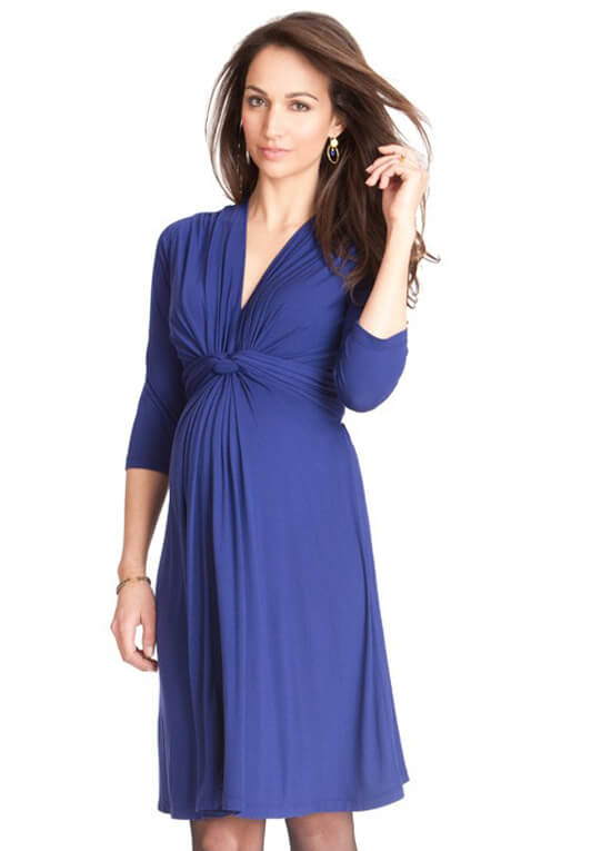 Royal Blue 3 4 Sleeve Knot Front Maternity Dress By Seraphine