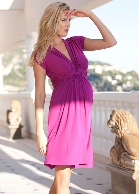 Fuchsia Pink Knot Front Maternity Dress by Seraphine